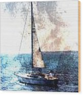 Sailboat Light W Metal Wood Print