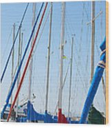 Sailboat Masts Wood Print by Artist and Photographer Laura Wrede