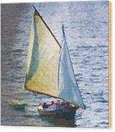 Sailboat Off Marthas Vineyard Massachusetts Wood Print by Carol Leigh