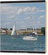 Sailboat On Lake Ontario Near Old Fort Niagara 2 Wood Print