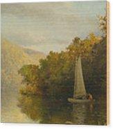 Sailboat On River Wood Print