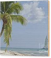Sailboat Passing By Tropical Beach Wood Print by Sami Sarkis