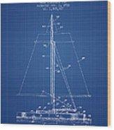 Sailboat Patent From 1932 - Blueprint Wood Print