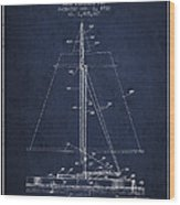 Sailboat Patent From 1932 - Navy Blue Wood Print