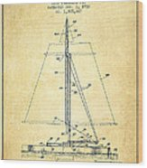 Sailboat Patent From 1932 - Vintage Wood Print