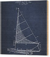 Sailboat Patent From 1962 - Navy Blue Wood Print