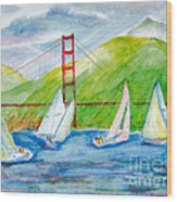 Sailboat Race At The Golden Gate Wood Print