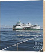 Sailboat Sees Ferryboat Wood Print