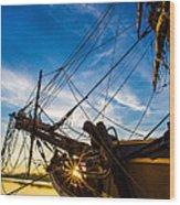 Sailboat Sunrise Wood Print