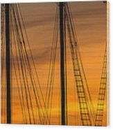 Sailboat Sunrise Wood Print