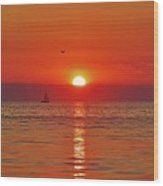 Sailboat Sunset Pamlico Sound 3 10/2 Wood Print