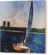Sailboat Tilted Towers W Metal Wood Print