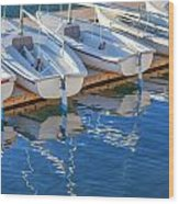Sailboats And Dock Wood Print by Cliff Wassmann