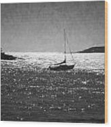Sailboat And Islands In Maine Wood Print
