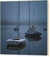 Sailboats At Dawn Wood Print