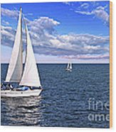 Sailboats At Sea Wood Print
