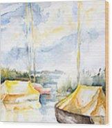 Sailboats Awakening Wood Print