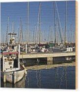 Sailboats In Badalona Marina Wood Print