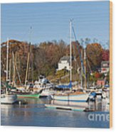 Sailboats In Camden Harbor I Wood Print