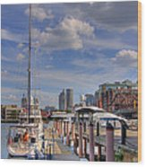 Sailboats In Constitution Marina - Boston Wood Print by Joann Vitali