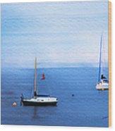 Sailboats in Skerries Harbor- mixed media photography Wood Print