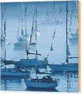 Sailboats In The Fog II Wood Print