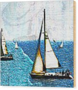 Sailboats In The Harbor Wood Print