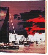 Sailboats In The Marina Surreal 2 Wood Print