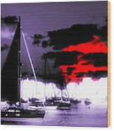 Sailboats In The Marina Surreal 3 Wood Print