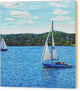 Sailboats In The Summer Wood Print