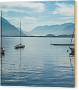 Sailboats On Como Wood Print