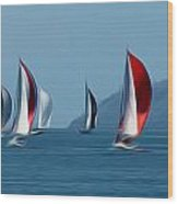 Sailboats Wood Print by Stefan Petrovici