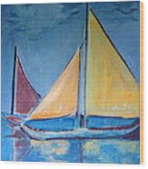 Sailboats With Red And Yellow Sails Wood Print