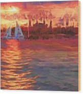 Sailboatsunset Wood Print