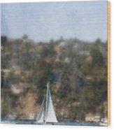 Sailing Along The Shore Wood Print
