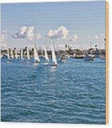 Sailing Wood Print by Angela A Stanton