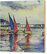 Sailing At Penarth Wood Print