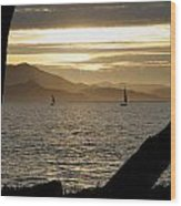 Sailing At Sunset On The Bay Wood Print