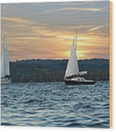 Sailing At Sunset Wood Print by Steven Michael
