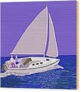Sailing Blue Ocean Wood Print