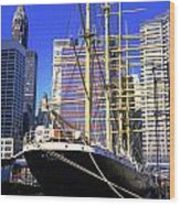 Sailing Boat Anchored In South Street Seaport 1984 Wood Print