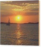 Sailing Boat In Ibiza Sunset Wood Print