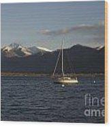 Sailing Boat On An Alpine Lake Wood Print