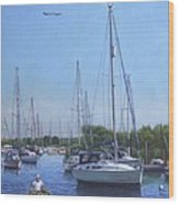 Sailing Boats At Christchurch Harbour Wood Print by Martin Davey