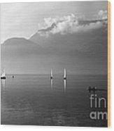 Sailing Boats On Como Lake Wood Print