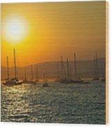 Sailing Boats On Sea At Sunset  Wood Print
