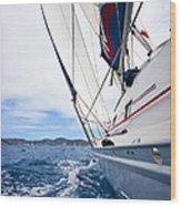 Sailing Bvi Wood Print by Adam Romanowicz