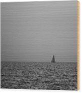 Sailing Bw Wood Print
