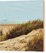 Sailing By Sand Dune Wood Print
