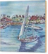 Sailing By Shoreline Village Wood Print